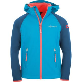 Trollkids - Rondane XT Zip Off Softshelljacke Kids midnight blue cerulean coral