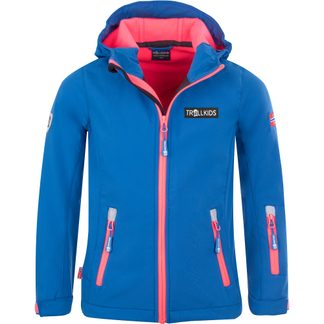 Trollkids - Oslofjord Softshell Jacket Girls midnight blue coral