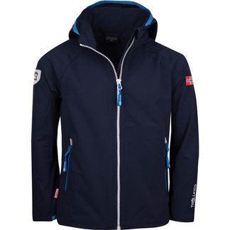 Trollkids - Kvalvika Softshell Jacket Kids navy white med blue