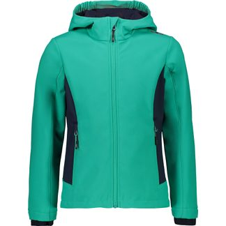 CMP - Fix Hood Sofshell Jacket Girls antracite EF emerald