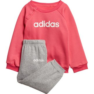 adidas - Linear Fleece Infant Jogger Set real pink medium grey heather white