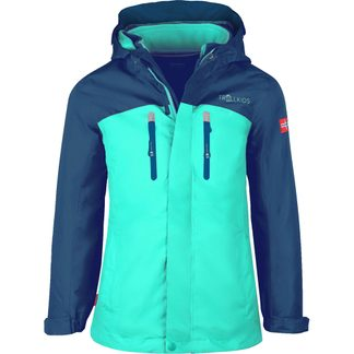 Trollkids - Bryggen 3in1 Softshell Jacket Girls midnight blue dark mint