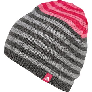adidas - Stripy Beanie Kids dark grey pink