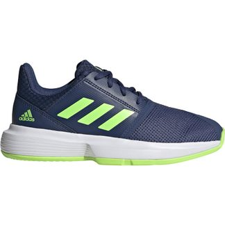 adidas - CourtJam xJ Tennis Shoes Kids tech indigo signal green footwear white