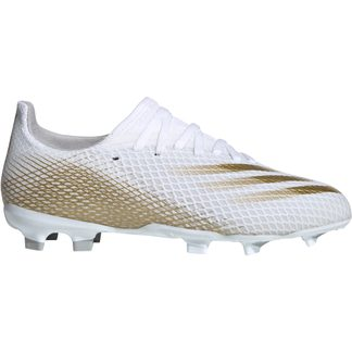 adidas - X Ghosted.3 FG Football Shoes Boys footwear white metallic gold melange grey two