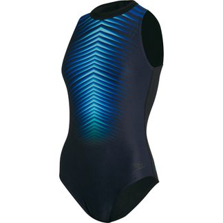 Speedo - Digital Placement Hyrdasuit Badeanzug Damen black light adriatic blue flame