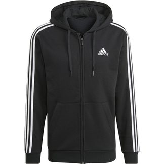 adidas - Essentials Fleece 3-Stripes Full-Zip Hoodie Men black
